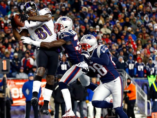 Anquan Boldin #81 of the Baltimore Ravens scores a