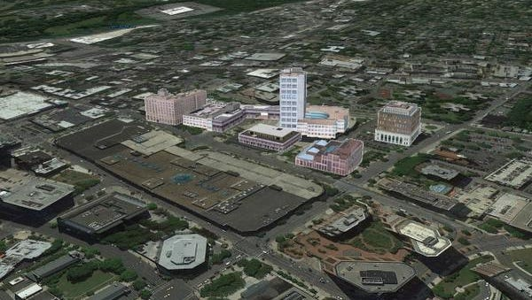 A mockup of part of downtown White Plains showing what 3D models in the works for White Plains, Yonkers, Sleepy Hollow and Port Chester might look like. Westchester County has contracted for the models in the most recent advancement in its GIS products.