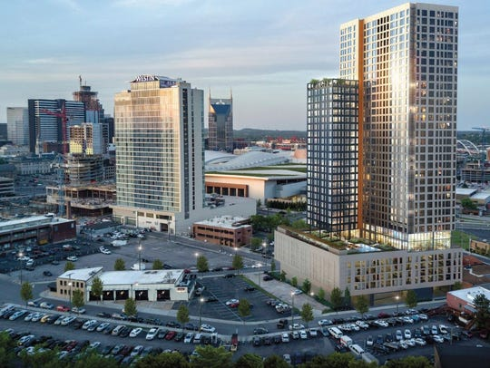 A rendering of the 35-story building planned at 805