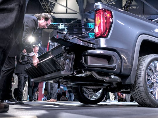 The MultiPro Tailgate for the 2019 GMC Sierra Denali pickup during the unveiling in Detroit on Thursday, March 1, 2018.