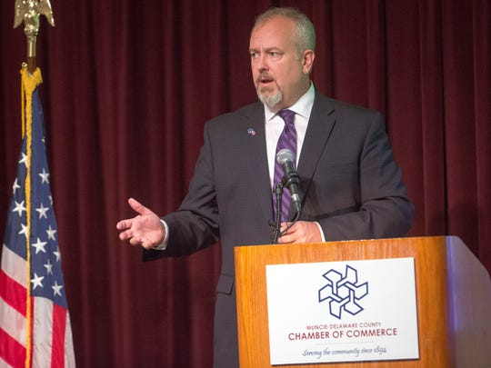 "Muncie Community School Superintendent Steve Baule gives his third annnual ""State of the School"" speech to chamber of commerce members on Oct. 26 at the Horizon Convention Center."