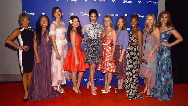 Actors Paige O'Hara (Belle), Irene Bedard (Pocahontas), Mandy Moore (Rapunzel), Auli'i Cravalho (Moana), Sarah Silverman (Vanellope von Schweetz, Kristen Bell (Anna), Kelly Macdonald (Merida), Anika Noni Rose (Tiana), Linda Larkin (Jasmine) and Jodi Benson (Ariel) all got together for the first time on the D23 stage.