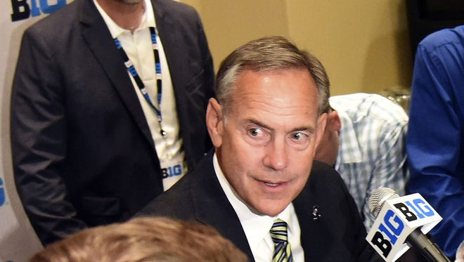 Jul 26, 2016; Chicago, IL, USA; Michigan State Spartans head coach Mark Dantonio addresses the media during the Big Ten football media day at  the Hyatt Regency.