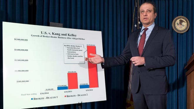 United States District Attorney Preet Bharara announces charges, Wednesday, Dec. 21, 2016 in New York, against Navnoor Kang, a former portfolio manager at the New York State Common Retirement Fund