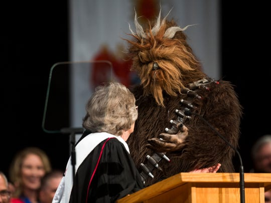 "Chewbacca the Wookie interrupts Anne Leavitt's commencement address during the Southern Utah University graduation ceremony in the America First Event Center Friday, May 4, 2018. Many Star Wars ""May the Fourth be With You"" references were scattered throughout the event."