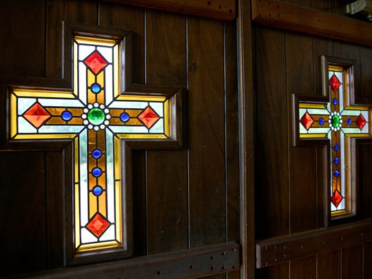 Stained-glass crosses on the door to the Chapel of