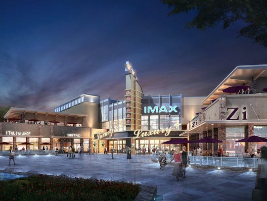 A rendering of the planned Brands at the Ranch being developed by Martin Lind's Water Valley Land Co. in conjunction with Stellar Development. Construction on the IMAX theater and new-to-market restaurants will begin in July.