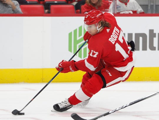 Detroit Red Wings left wing David Booth (17) skates