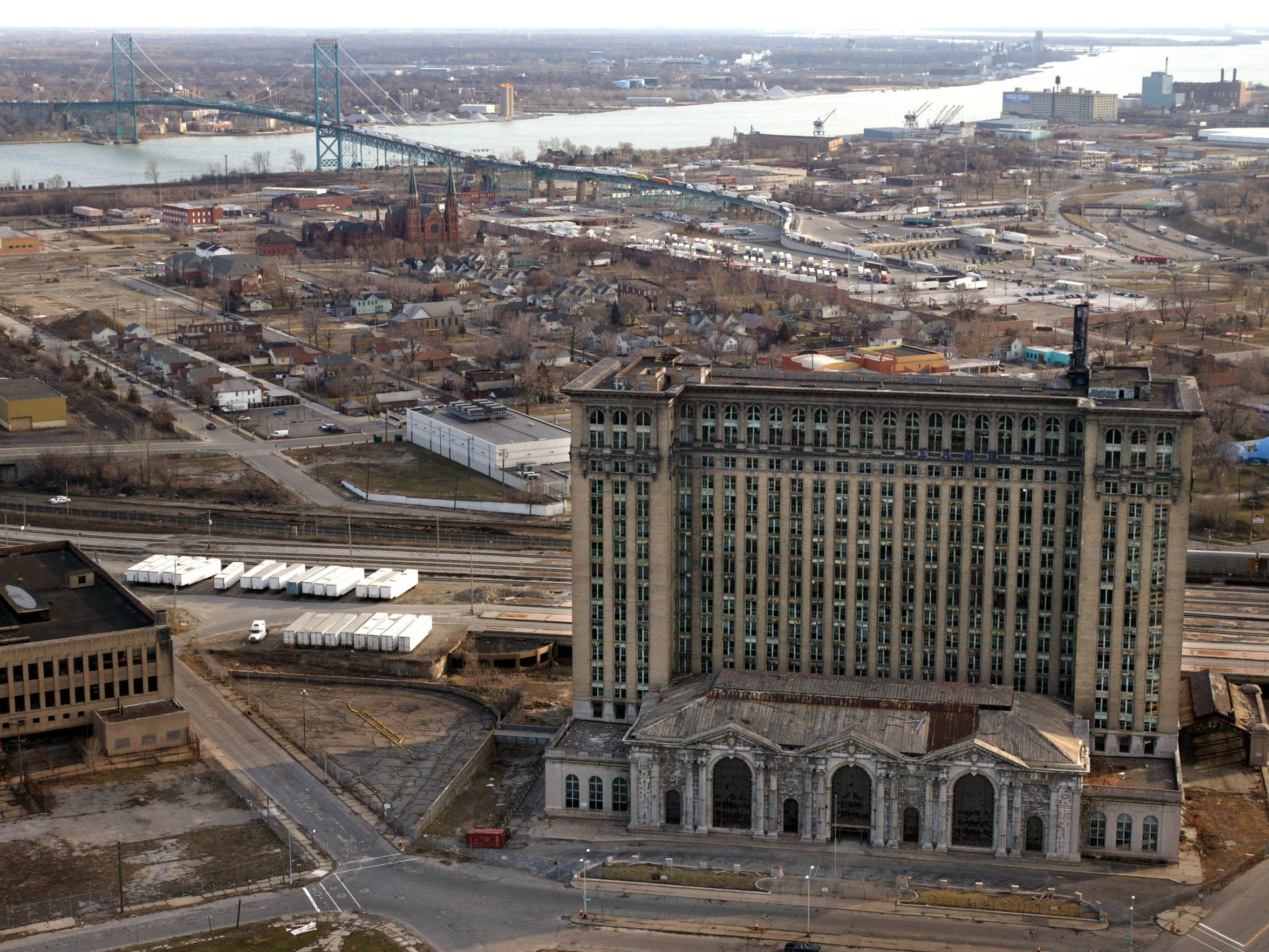 A 2004 photograph shows an aerial view of the old Michigan Central station. Reports have it that Ford Motor Company is planning to move its smart vehicle development center to the building.