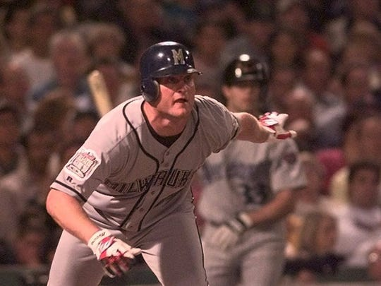 Milwaukee Brewers' Jeromy Burnitz breaks from the plate on a double in the fourth inning, Tuesday, July 13, 1999, at the All-Star Game in Boston's Fenway Park. Burnitz later scored in the inning on a hit by Cincinnati Reds' Barry Larkin.