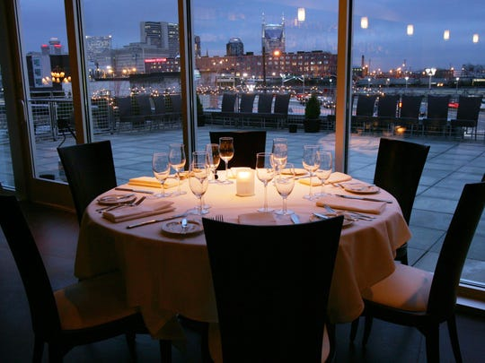 The Watermark is a new upscale restaurant located in the Gulch between Rue Sans and Sambuca. This is in the bar looking out at the skyline Jan. 16, 2006.