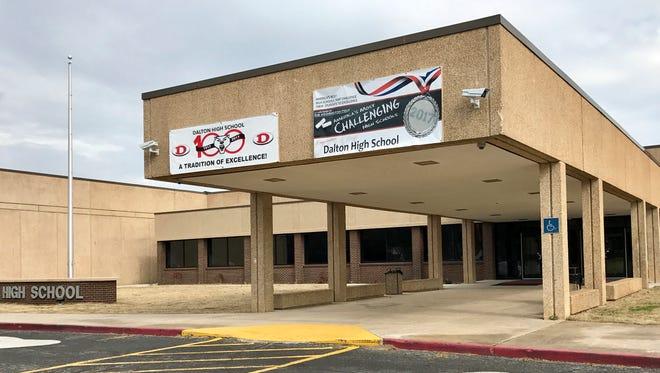 Police in Dalton, Ga., took a teacher into custody Feb. 28, 2018, following a shooting incident at Dalton High School, shown here.