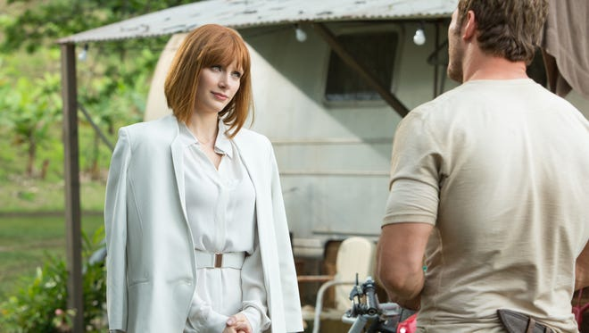 Claire (Bryce Dallas Howard) makes an uncomfortable visit to Owen's (Chris Pratt) home on Isla Nublar in 'Jurassic World.'