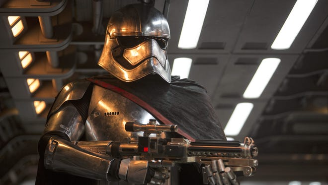 """Captain Phasma (played by Gwendoline Christie) is armed and ready in """"Star Wars: The Force Awakens."""""""