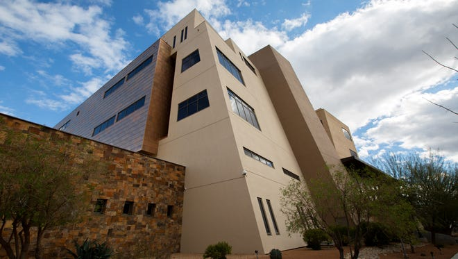 The United States District Court in Las Cruces rises above the downtown neighborhoods.