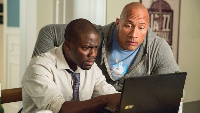 "Calvin (Kevin Hart, left) and Bob (Dwayne Johnson) are old high-school classmates in ""Central Intelligence."""