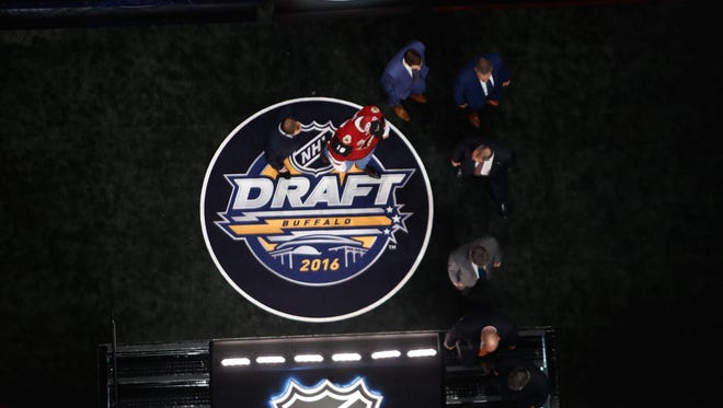 A general view while Jakob Chychrun celebrates with the Arizona Coyotes after being selected 16th during round one of the 2016 NHL Draft on June 24, 2016 in Buffalo, New York.