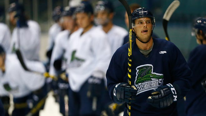 Logan Roe comes off the ice Friday, Oct. 2, 2015 at Germain Arena in Estero, Fla. The Florida Everblades held their first practice in training camp for the 2015-16 season. (Corey Perrine/Staff)(DESIGN/LAYOUT: PLEASE NO TEXT ON PHOTO, PLEASE DO NOT ALTER EDGES)