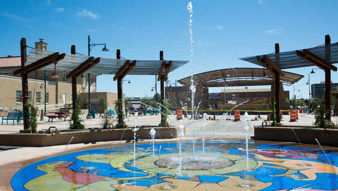 The splash pad at the north end of Plaza de Las Cruces gets a test run on Friday, Sept. 9, 2016. The official plaza opening is scheduled for Saturday, Sept. 17, 2016.