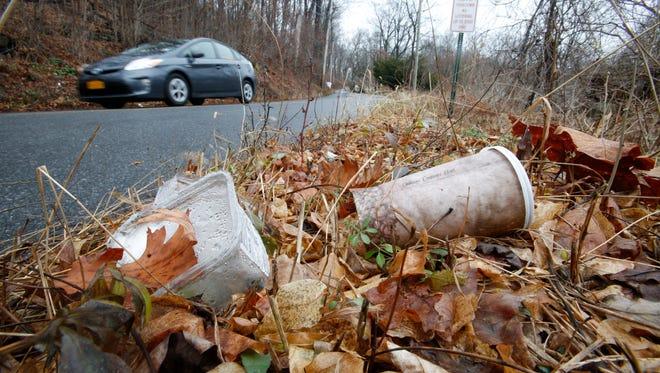Litter in Yorktown on Wood Street on Dec. 7, 2016.