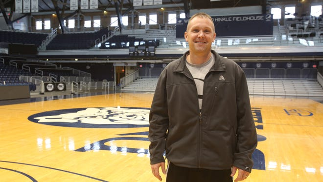 Damon Bailey, the assistant women's basketball coach at Butler University is shown at Hinkle Fieldhouse on Feb, 26, 2015.