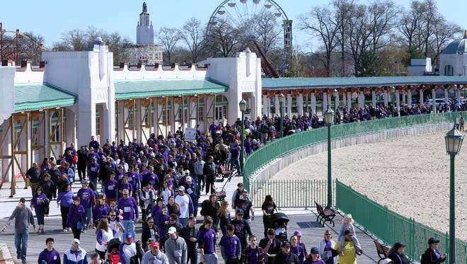 Supporters participate in the Lustgarten Foundation's 8th annual Pancreatic Cancer Research Walk in Westchester April 23, 2017 at Playland in Rye. Over 2,000 participants came out to raise more than $900,000 for pancreatic cancer research.