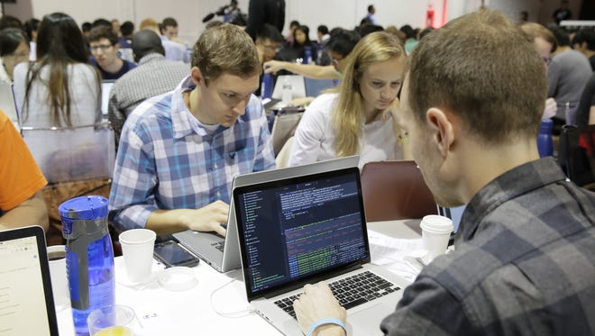 Students, statisticians, developers and engineers take part in the first ever NBA Basketball Analytics Hackathon at Terminal 23 in New York.
