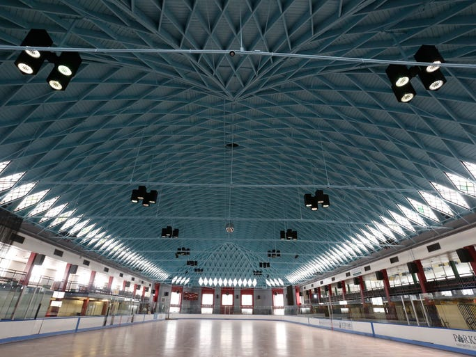 The lamella roof that covers the Playland ice rink at Rye Playland on May 13, 2014.  The roof and stain glass diamond shaped windows have been repaired.