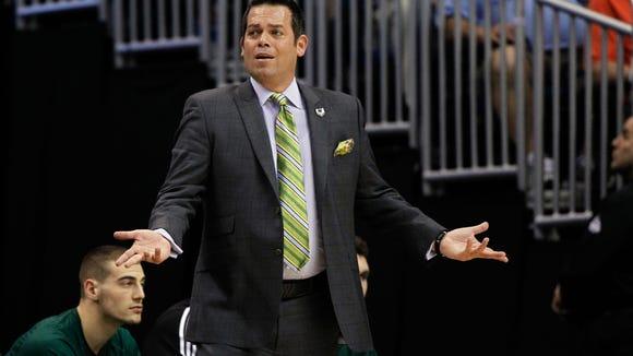 Manhattan head coach Steve Masiello in March during his team's NCAA tournament game against Louisville.