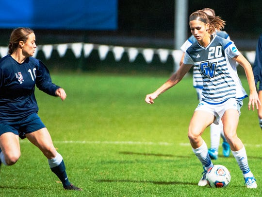 Northville graduate and Novi resident Gabriella Mencotti (right) was a goal-scoring machine for Grand Valley State.