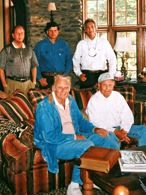 The Grahams, top row from left, Deryl Graham, Franklin Graham, Mel Franklin Graham. Bottom row from left, the Rev. Billy Graham, Melvin Thomas Graham.