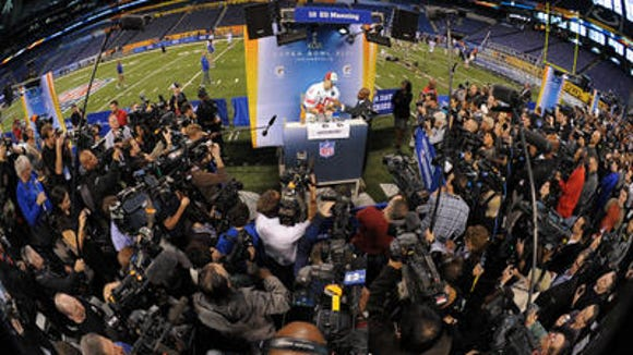 Scene from a previous Super Bowl media day.