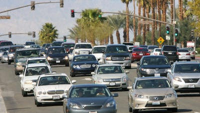 Traffic is shown on Highway 111 at Fred Waring Drive in this Desert Sun file photo. Road work is scheduled to cause delays at the Palm Desert intersection Wednesday and Thursday mornings.