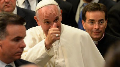 Pope Francis during The Evening Prayer (Vespers) at St. Patrick's Cathedral in New York, September 24, 2015. Pope Francis is on a five-day trip to the USA, which includes stops in Washington DC, New York and Philadelphia, after a three-day stay in Cuba.