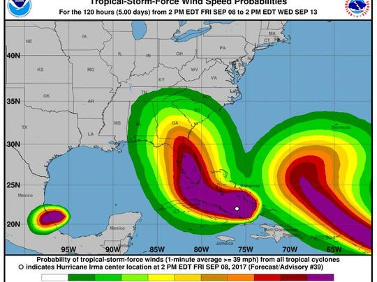 Wind forecast due to Hurricane Irma as of 8 p.m. Friday, Sept. 8 update.
