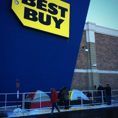 Black Friday shoppers lined up outside of Best Buy