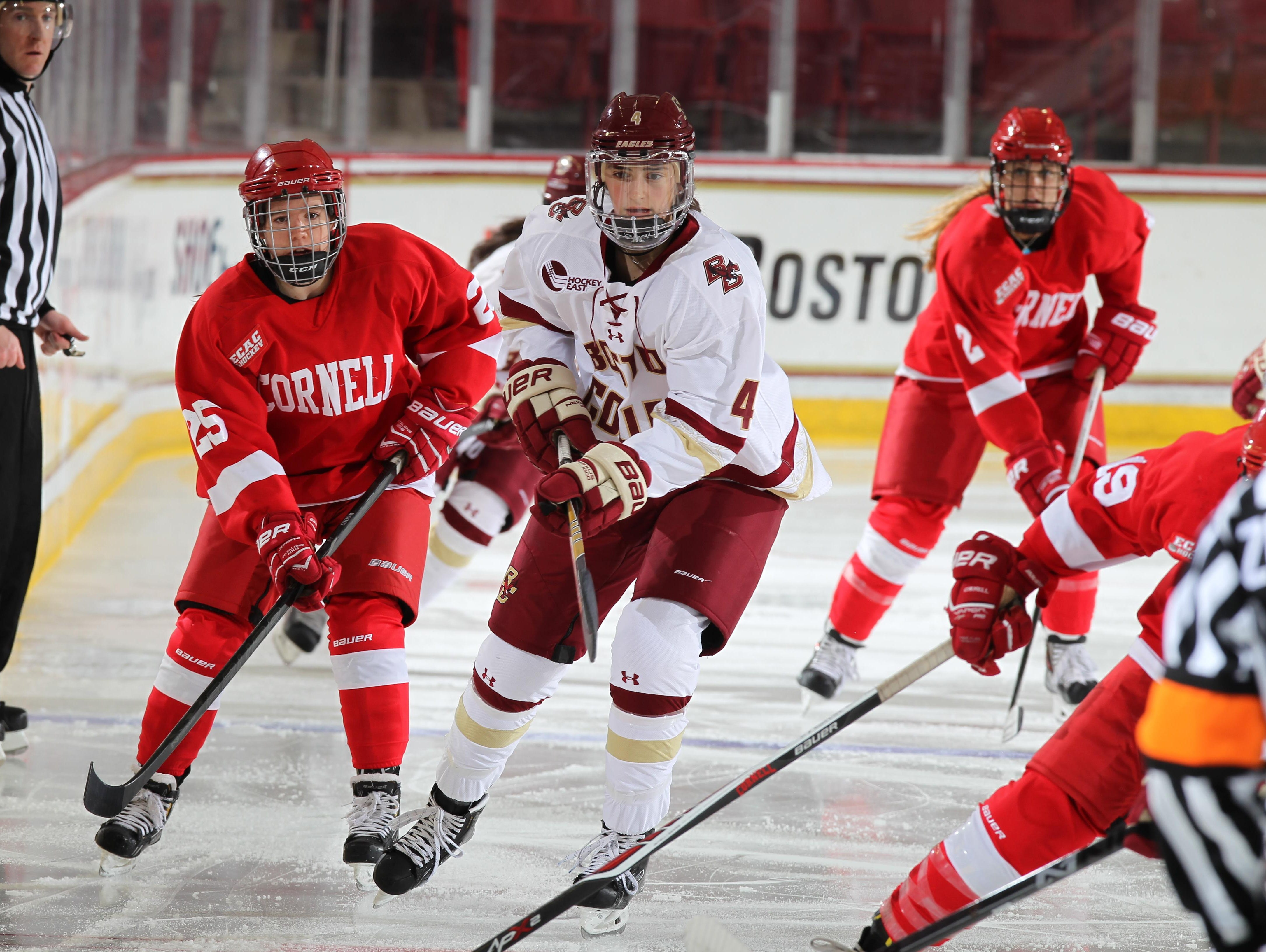 Boston College's Megan Keller of Farmington Hills (middle) is one of the top young defensive players in U.S. women's hockey.