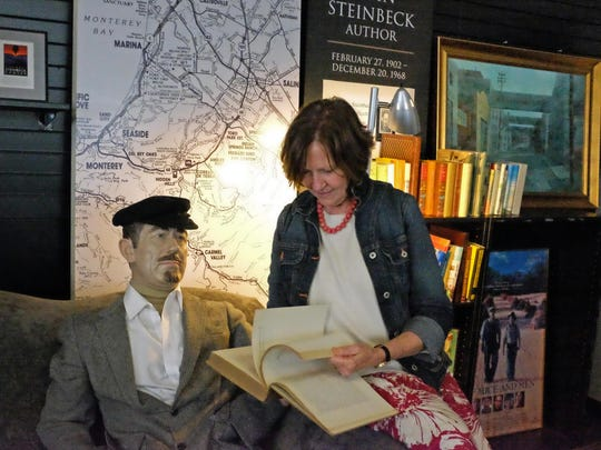 Dr. Susan Shillinglaw reads a vintage copy of The Grapes of Wrath with John Steinbeck on Wednesday, April 19th, 2017.