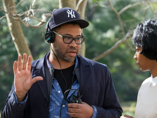 "Writer-director-producer Jordan Peele on the set of ""Get Out."""