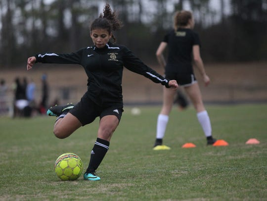 The Florida High girls soccer team practices Monday
