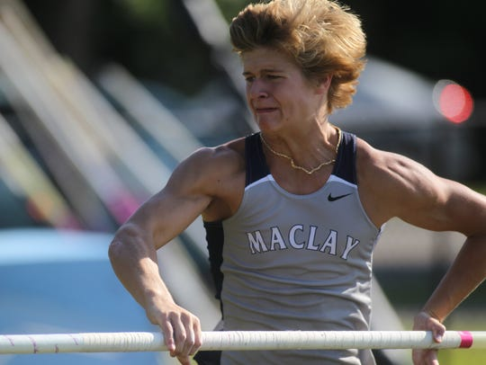 Maclay's Kennan Milford pole vaults during Wednesday's