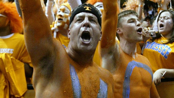 Bruce Pearl painted his upper body orange in support of Tennessee women's basketball in 2007.