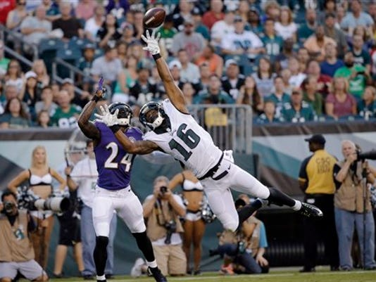 Philadelphia Eagles' Seyi Ajirotutu (16) cannot catch a pass as Baltimore Ravens' Kyle Arrington (24) defends during the first half of a preseason NFL football game, Saturday, Aug. 22, 2015, in Philadelphia.