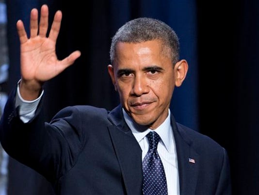 """President Barack Obama waves after speaking at the """"SelectUSA Investment Summit,"""" Thursday, Oct. 31,  in Washington. Obama won't be speaking at Gettysburg this year, the Park Service announced Wednesday."""