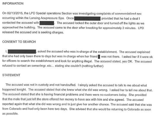 This screen grab of a Lansing Police Department report