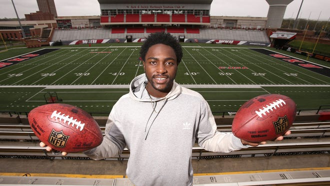 Western Kentucky University wide receiver Taywan Taylor has been going through individual workouts with several NFL team reps as he prepares for the NFL draft.  Apr. 6, 2017