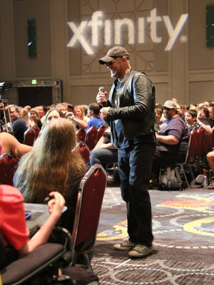 Michael Rooker randomly chooses audience members to have ask questions during his panel at Salt Lake Comic Con, Sept. 3, 2016.