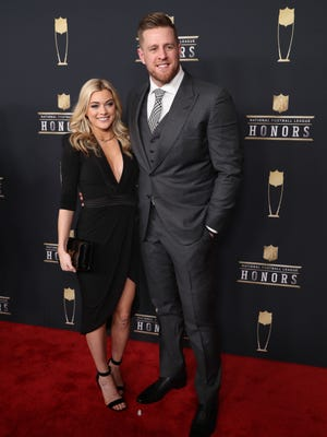 J.J. Watt and Kealia Ohai during red carpet arrivals for the NFL Honors show at Cyrus Northrop Memorial Auditorium at the University of Minnesota.