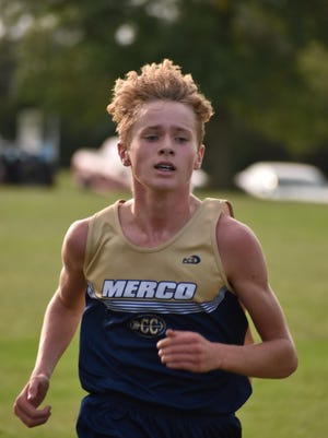 Mercer County's Daylen Blaser nears the finish line of a junior high cross country triangular with Cambridge and Orion on Monday, Sept. 14, at Hawthorn Ridge Golf Course, Aledo. He finished fourth overall with a time of 14:34 for the 2-mile course.