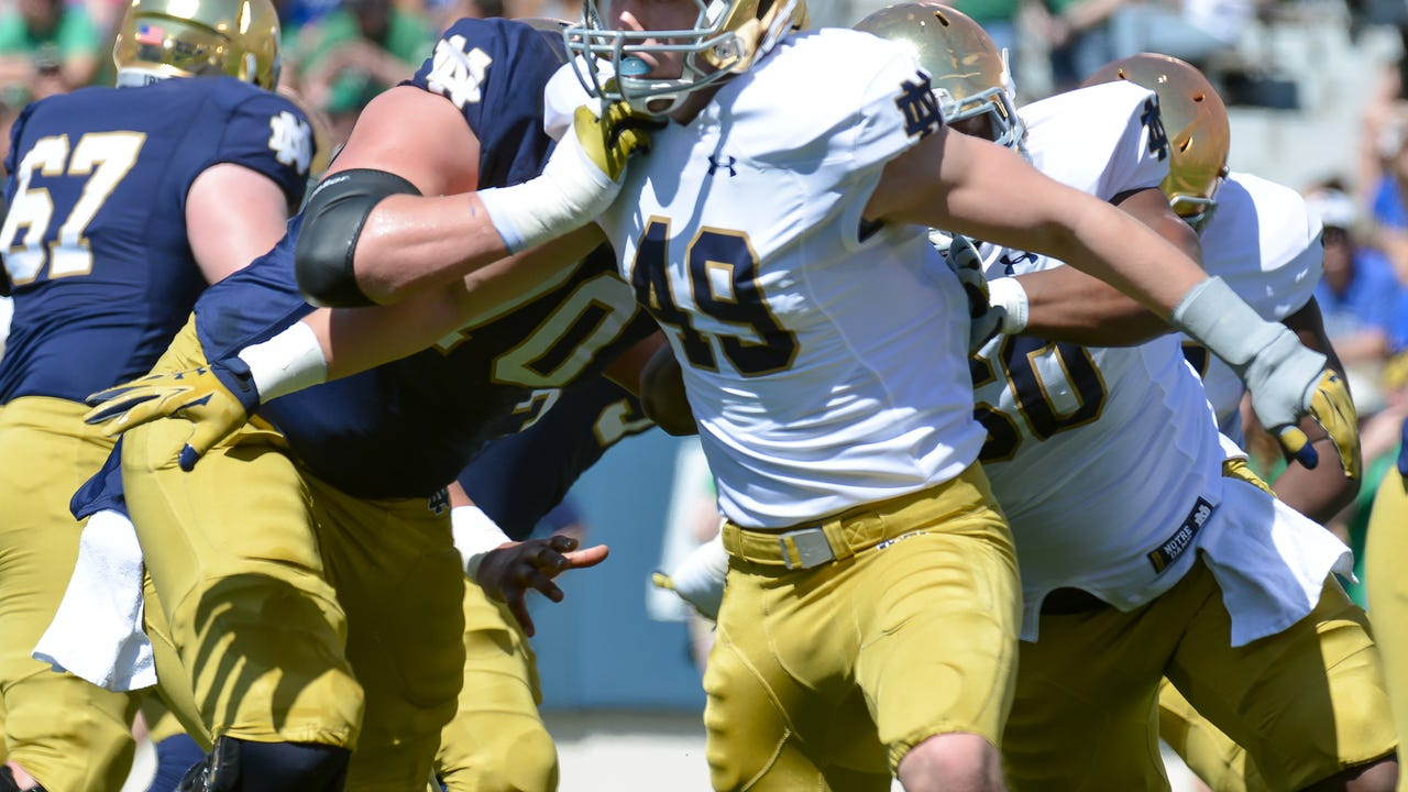 Harper Creek graduate and sophomore linebacker takes the field for the Fighting Irish for the first time.